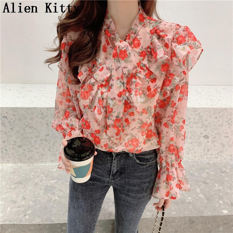 Alien Kitty Casual Lace Up Summer All Match Simple O-Neck Sexy Stylish Hot Ruffles Print Floral Fresh Elegant Chiffon Shirts