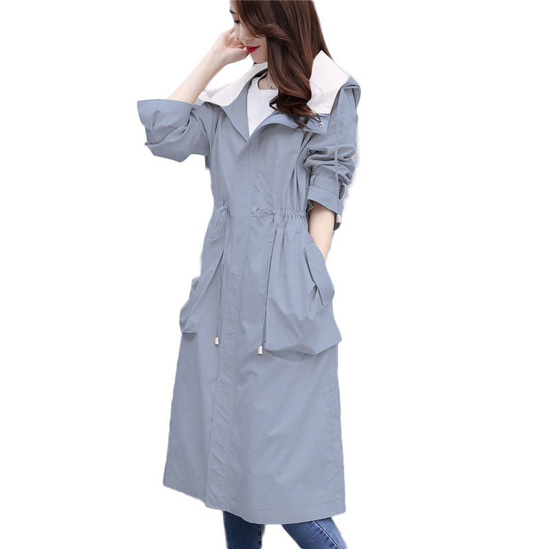 2019 Spring Autumn British Style Women's Trench Coat Female Hooded Dust Overcoats Fashion Medium Long Windbreaker Plus Size M80