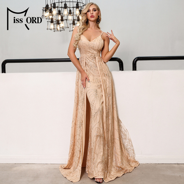 Missord 2019 Sexy V Neck Off Shoulder Glitter Maxi Dresses Female Backless Elegant Prom Maxi Dress  Vestidos FT19292
