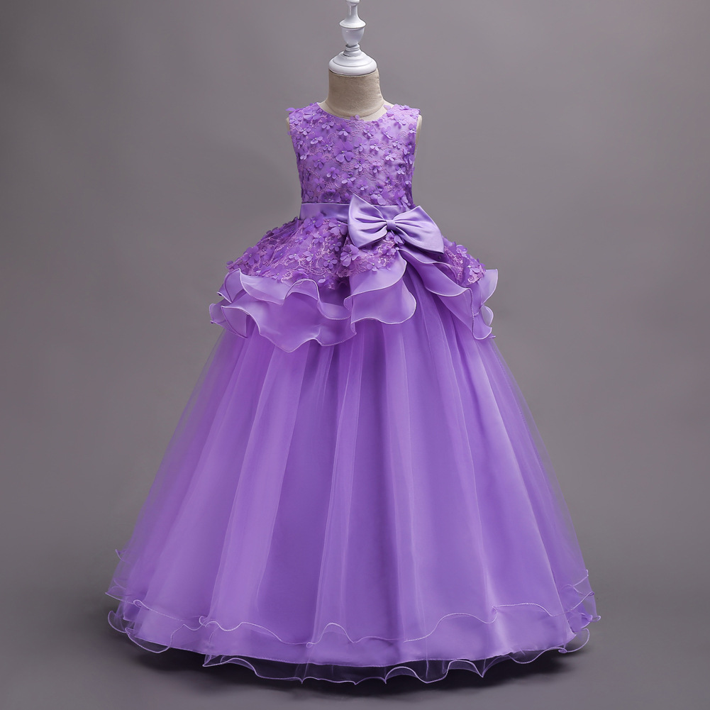 Flower Girls Formal Dress Embroidered Purple Wedding Party Dresses Children's Carnival Costume Teenage Girl Ceremony Long Dress long criss cross open back formal party dress