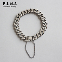 F.I.N.S Vintage 925 Sterling Silver Bracelets for Men Women Fashion Bracelet Hand Retro Punk Chain Link Charm Bracelet Silver 925 sterling silver bracelet bangle retro thai silver male personality silver chain magic circle evil eye bracelet punk biker