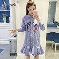 ShowMi New 2017 Ruffle Shirt Dress Embroidery Bird Appliques Single Breasted Gauze Liner Flounced Women Fashion Stripe Dresses