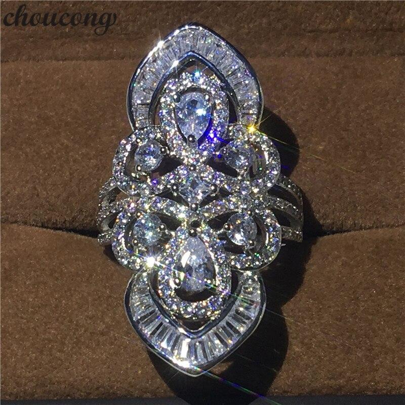 Choucong De Luxe Grande cour Anneau 5A Zircon sona Cz 925 Sterling Argent Engagement Wedding Band Anneaux pour femmes hommes Baroque bijoux