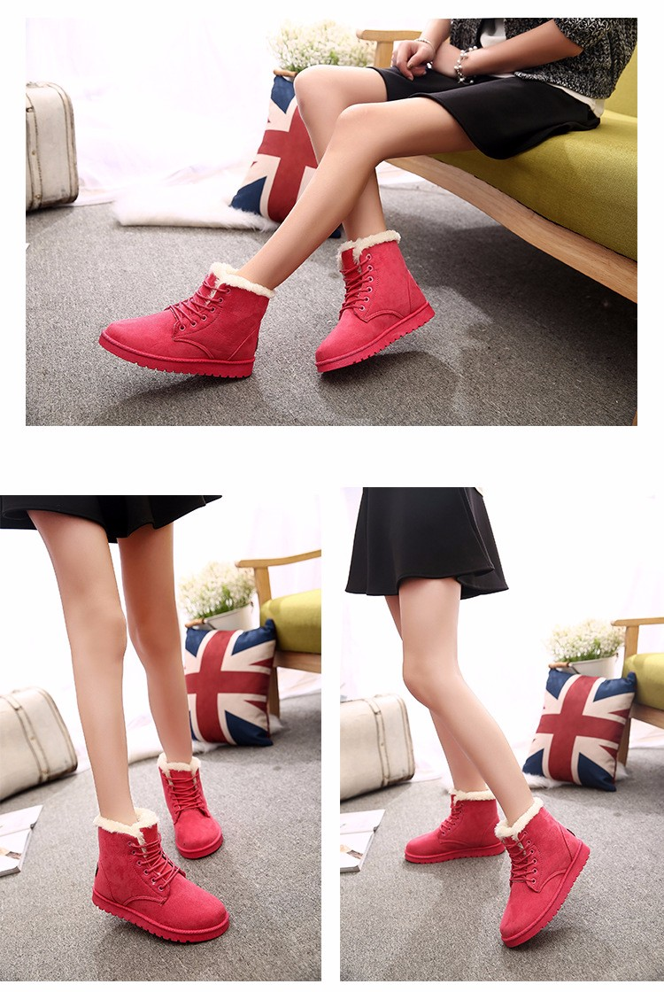 2016 Winter Woman Boots Lace-up Solid Flat Ankle Boots Casual Round Toe Woman Shoes Fashion Warm Plus Cotton Shoes ST903 (6)