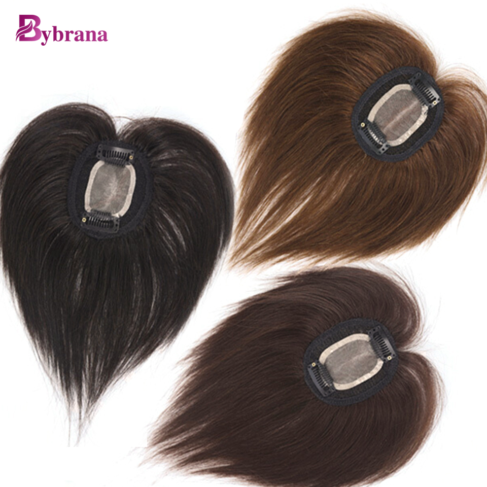 Bybrana Straight Human Hair Remy Hair 2 Clip In Middle Part Top Closure Natural 3 Colors 10 Inch free shipping