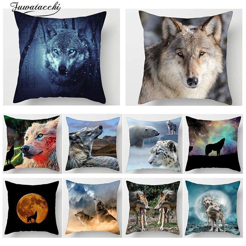Fuwatacchi Animal 3D loup imprimer housse de coussin loup lune chien tigre montagne taie d'oreiller canapé maison voiture décor coussins couverture