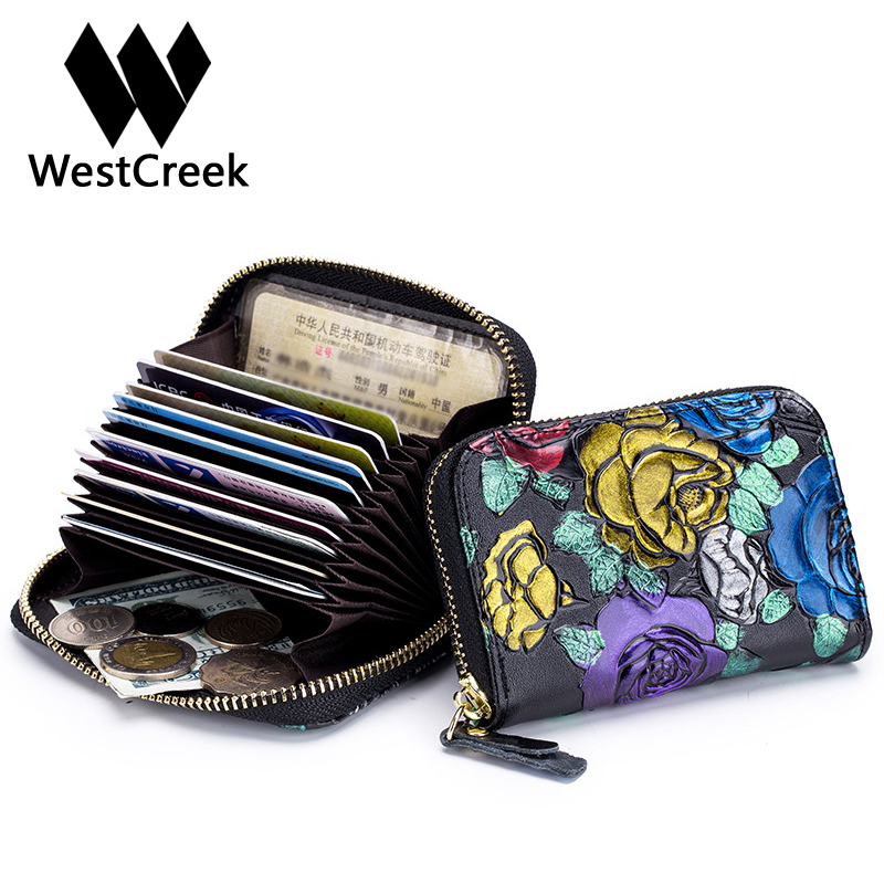 Westcreek Brand Genuine Leather Fashion Rose Embossed Zipper Card Holder RFID Wallet For Female Minimalist Credit Cards Purse westcreek brand men women genuine leather rfid zipper credit card holder passport travel wallet coin purse business cards holder