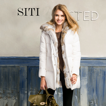 2017 women down warm long gift coat  jacket  parka zipper fashion new winter outerwear rabbit fur collar new plus size thick