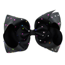 Girls Cheer Hair Bows Larger 8Inch Grosgrain Ribbon JOJO Siwa Bow Sparkly Rhinestones With Alligator Clip for Baby
