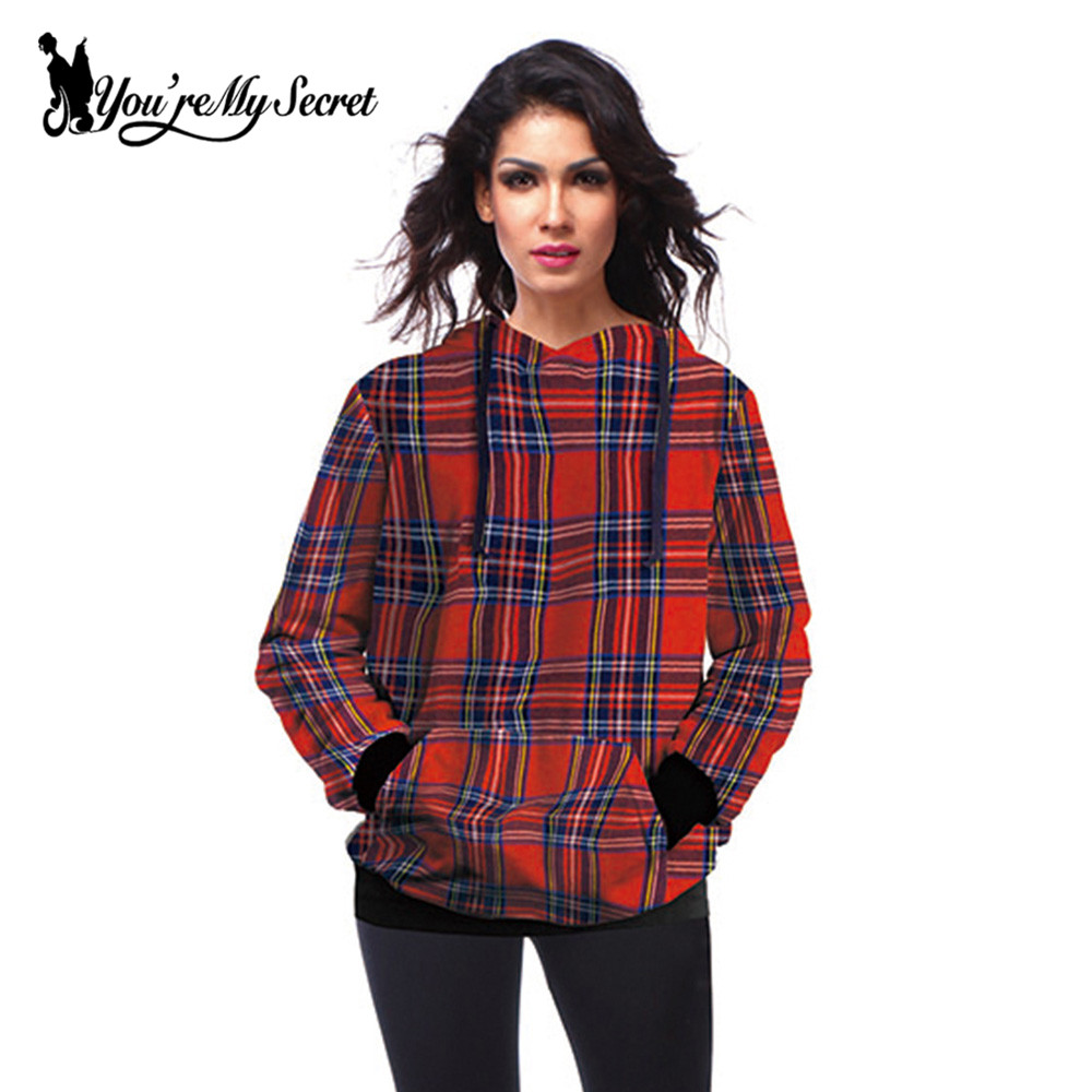 [You're My Secret] Fashion Red Striped Plaid Printed Sweatshirt Woman Hooded Pullovers Crew Neck Hoodies Moletom Mujer Design