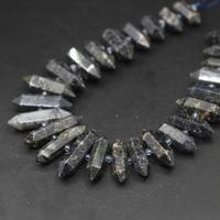 15.5strand Black Labradorite Hexagon Double Point Graduated Pendants,Natural Gems Stone Faceted Nugget Beads Jewelry Making