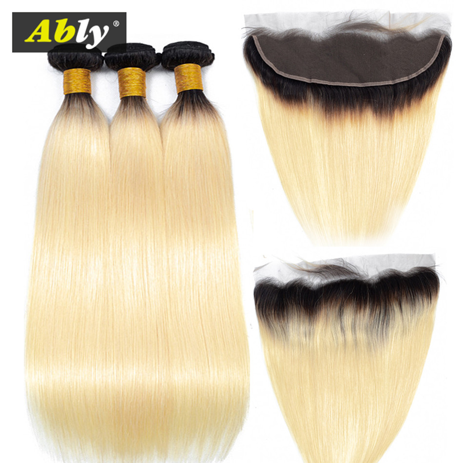 Ably Lace Frontal Closure With Bundle Straight 1B/613 Bundles With Frontal Remy Brazilian Human Hair Weave 3Bundles With Frontal