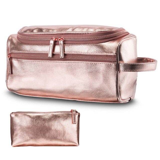 2Pcs set PU Leather Vintage Luxury Cosmetic Bag Hanging Zipper Makeup Case  Women Men Travel Toiletry Wash Makeup Bag 9356a8fa0d33a