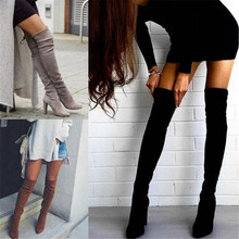 2018 Ladies Shoes Square Low Heel Women Over The Knee Boots Scrub Black Pointed Toe Woman Motorcycle Boots Size 34-43 esveva 2018 women boots slim look boots square high heel round toe over the knee boots pointed toe sexy ladies boots size 34 43