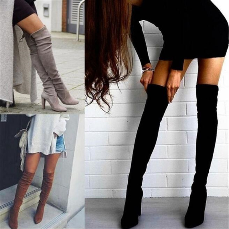 2018 Ladies Shoes Square Low Heel Women Over The Knee Boots Scrub Black Pointed Toe Woman Motorcycle Boots Size 34-43