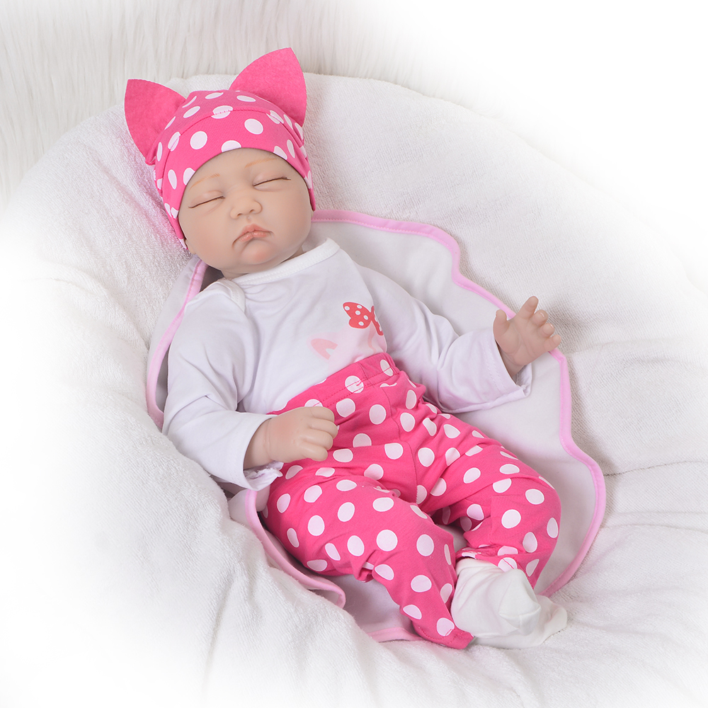 цена на Fashion KEUIMI 22 Inch Soft Silicone Reborn Baby Dolls 55 cm Realistic Sleeping New Born Baby Doll For Girl Birthday Gifts