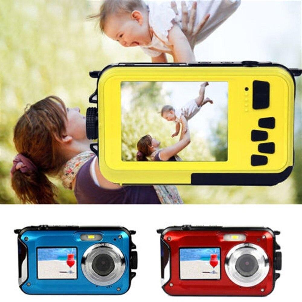 2.7 pouces appareil photo numérique étanche 24MP 1080 P Double écran sous l'eau caméscope caméra Zoom universel