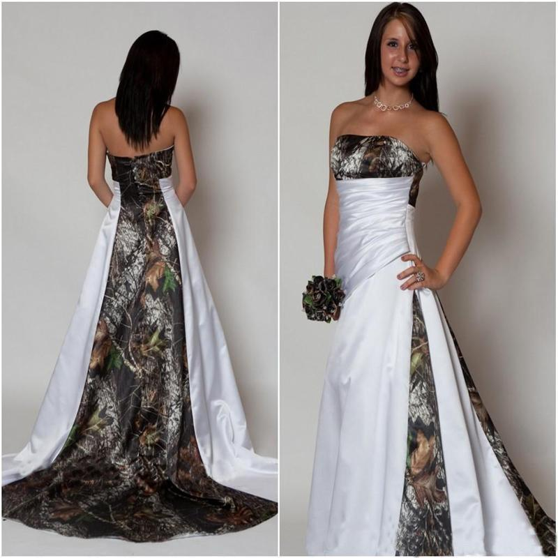 New Arrival Strapless Camo Wedding Dress With Pleats