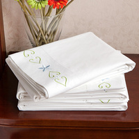 Flat Sheet Queen White Cotton Embroidered Breathable Soft Comfortable Wrinkle Fade Stain Abrasion Resistant Extremely Durable
