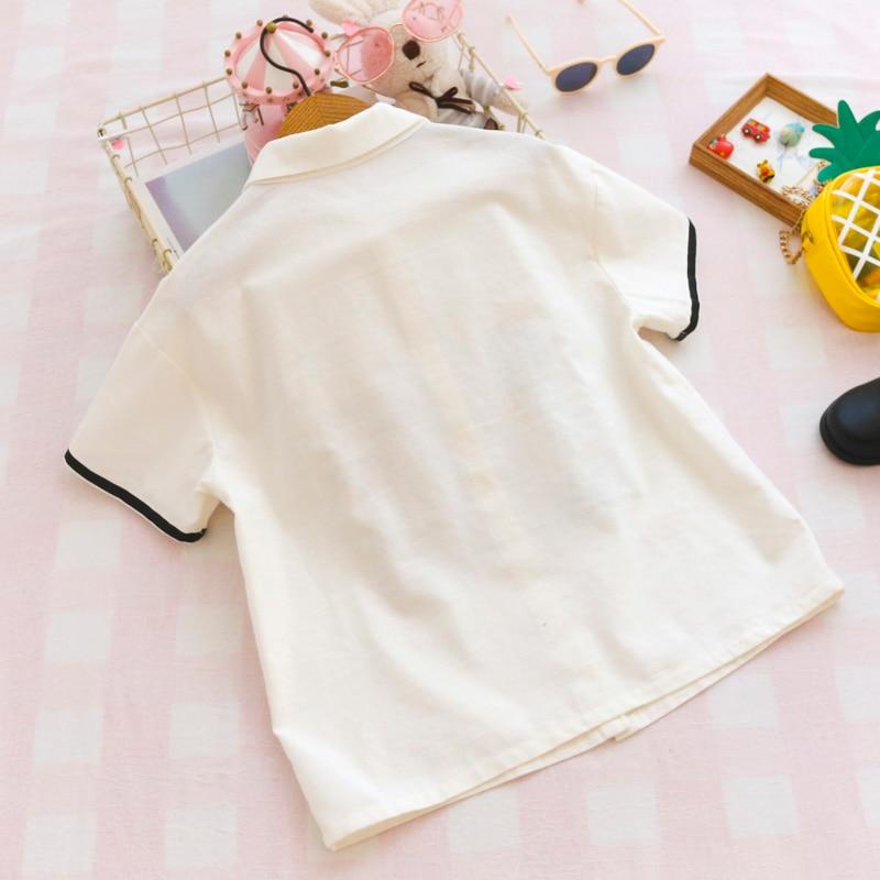 Summer Japanese Cute Fashion Linen Shirt Women School Style Funny Cat Tops Kawaii Printed Button Up Short Sleeve Girl Blouses 2