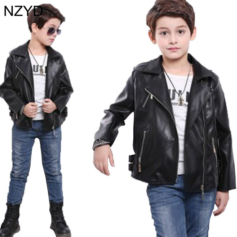 2017 New Fashion Spring Autumn Boy Coat Long Sleeve Lapel Boy Children Leather Jacket Casual Kids zipper clothing 3-14Year DC588 casual long sleeve embroidered faux leather jacket for boy