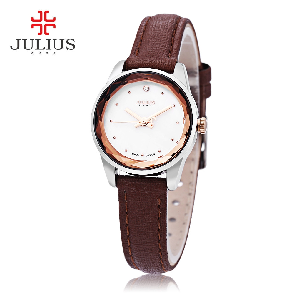 Julius Women Quartz Watch Slender Band Spot Scale Small Dial Stereo Cut Mirror 3ATM Wristwatch
