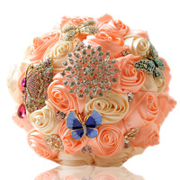 Eternal Angle 2017 New Ivory And Pink Hand Made Ribbon Silk Flower Bridal Bouquet Wedding Hold