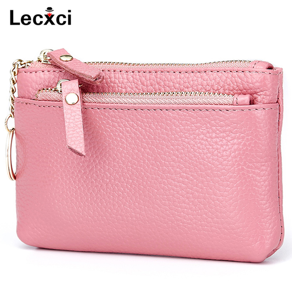 Lecxci Fashion Womens Small Real Leather Zipped Coin Change Purse with Key Ring Card Case Wallet Key Pouch
