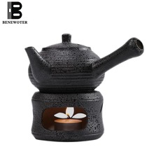 320ml New Japanese Style Vintage Coarse Pottery Kung Fu Tea Set Candle Heating Teapot Brew Tea Pot Kettle Tea Maker Warmer Stove