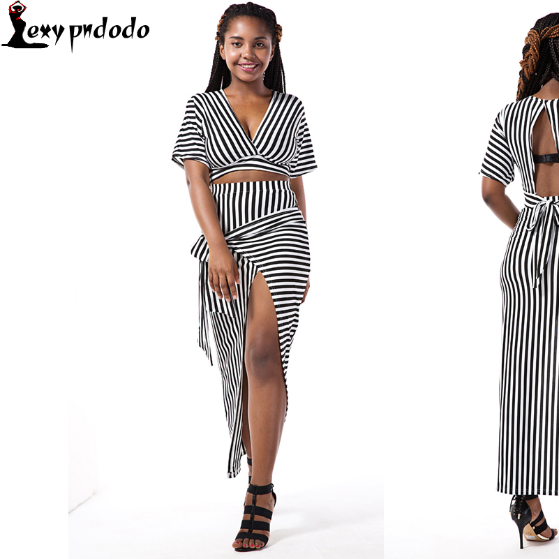 Sexy Silm Style Hollwo Out Two Pieces Set 2016 Hot Sale Summer Women Black White Stripe Sleeve-Half V-Neck Floor-Length Dress