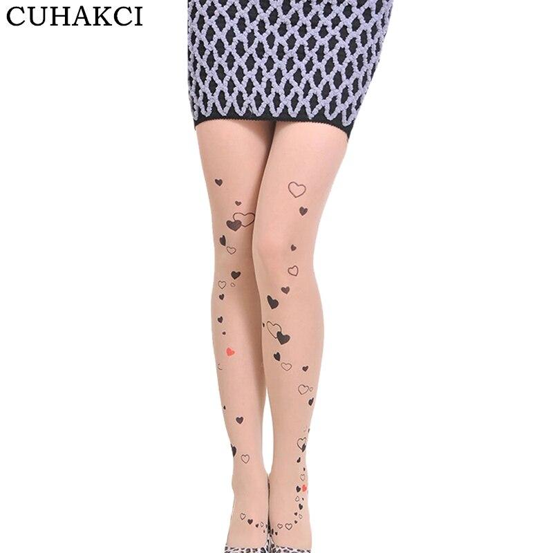 Cuhakci модные женские туфли с принтом Love Колготки для новорождённых леди Обувь для девочек пикантные узор Чулки для женщин бантом Колготки Ко...