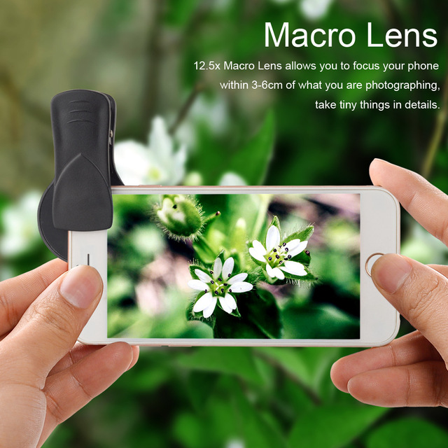 2 in 1 Lens 0.45X Wide Angle+12.5X Macro Lens Professional HD Phone Camera Lens For iPhone 8 7 6S Plus Xiaomi Samsung LG 3