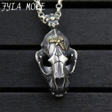 Hip-Hop Dinosaur Fossils Pendant S925 Sterling Silver Punk Skull Men's Pendant Necklace Jewelry Accessory 19*31MM  21.70G PBG084