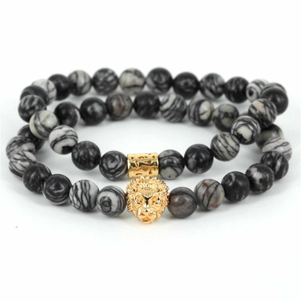 2017 Натуральный череп из каменных бус браслет для мужчин ювелирные изделия паутина из бисера мужской браслет бренд Pulseira Masculina лучший подарок