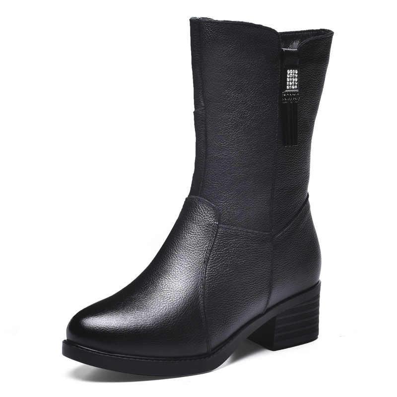 DONGNANFENG kobiety kobieta matka panie prawdziwej skóry buty buty do połowy łydki zimowe pluszowe futro ciepły zamek Med Heel Bling BH-8783
