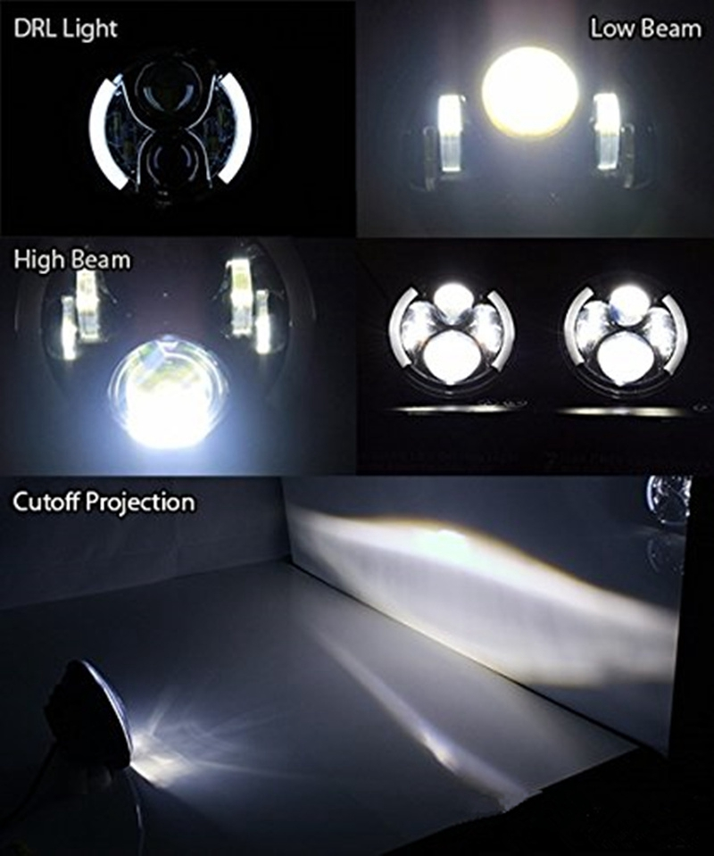 7 Motorcycle Projector Daymaker LED Light Bulb Headlight Halo For Harley Motorcycle Headlamp With Yellow Turn