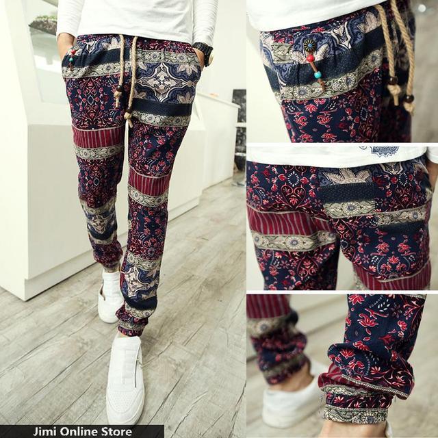 men pants 2016 casual trousers floral print joggers long linen trousers loose  elastic beaded men's jogger harem pants