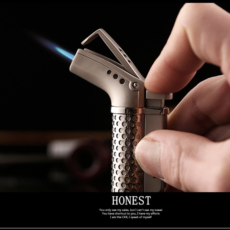 Image 2 - 2018 New Butane Jet Lighter Turbo Torch Lighter Fire Windproof Spray Gun Metal Lighter 1300 C NO GAS-in Matches from Home & Garden
