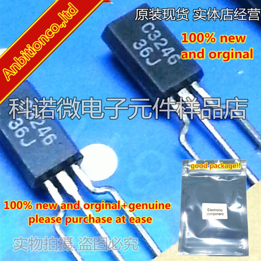 10pcs 100% New And Orginal 2SC3246 C3246 TO-92L FOR SMALL TYPE MOTOR, PLUNGER DRIVE APPLICATION SILICON NPN EPITAXIAL In Stock