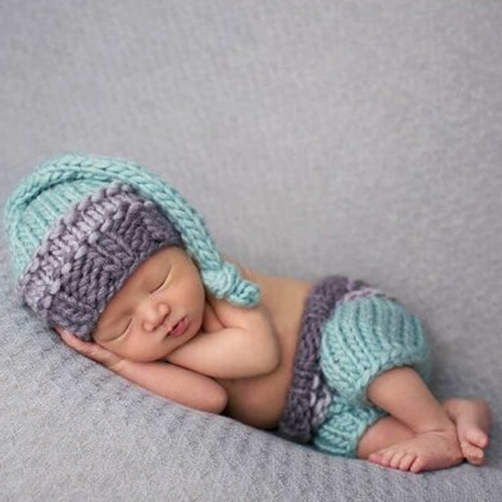 Cute Newborn Photography Prop Clothes Infant Baby Girls Boys Knitted Hat Pants Outfits Clothing Baby Hat For Photo Shoot Hot cute baby infant high qualit toddler chef cotton costume 3 piece clothes hat white top plaid pants for newborn boys suits hot
