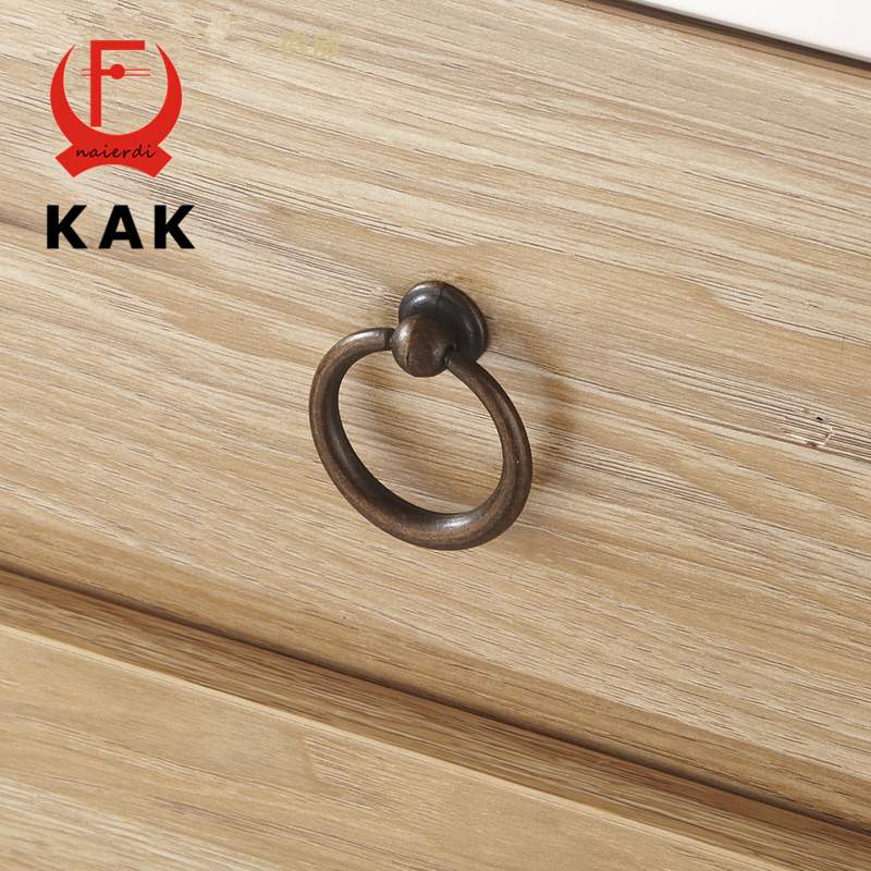 KAK Retro Antique Bronze Kitchen Cabinet Knobs Zinc Alloy circle Handles Cupboard Door Wardrobe Drawer Pulls Furniture Handles