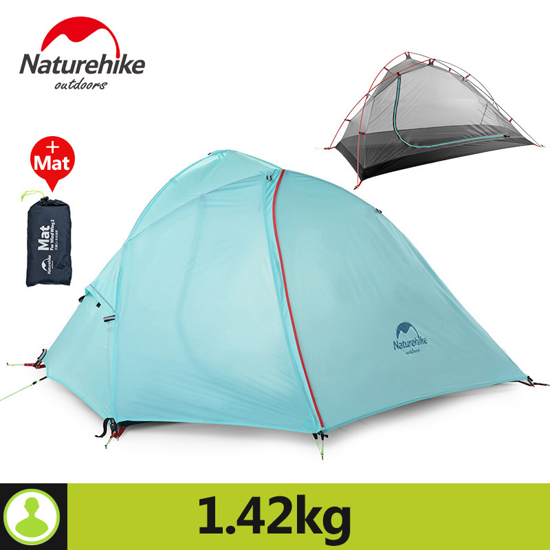 Naturehike Outdoor Camping Tent 1 Person 3 Season 20D Silicone 210T Polyester Fabric Double Layer Rainproof Camp Tent With Mat naturehike 1 person camping tent with mat 3 season 20d silicone 210t polyester fabric double layer outdoor rainproof camp tent