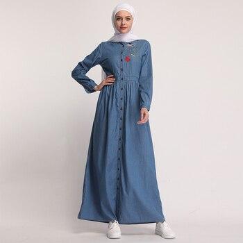 b8f6c18317 Denim Kaftan Abaya Dubai el Islam Cardigan Hijab musulmán vestido Abayas  para las mujeres