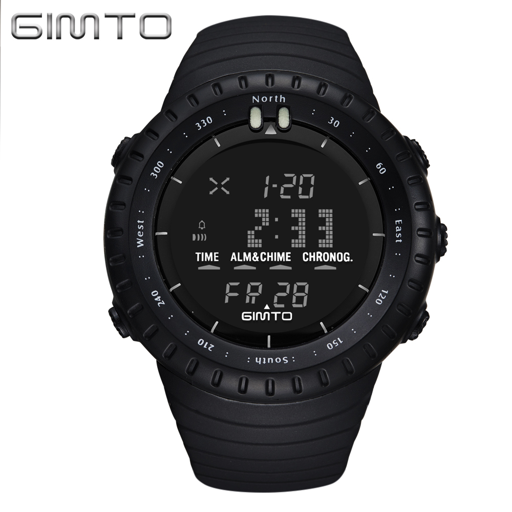 GIMTO Black Digital Sport Watch Men Clock Fashion Military Watches Diving LED Silicone Wristwatch Waterproof Relogio