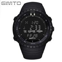 GIMTO Noir Numérique Sport Montre Hommes Horloge De Mode Militaire Montres de Plongée LED Silicone Montre-Bracelet Étanche Relogio Masculino
