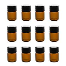 12pcs 3ml Mini Amber Glass Vial Bottles with Orifice Reducer and Cap for Essential Oils Chemistry Lab Colognes & Perfumes(China)