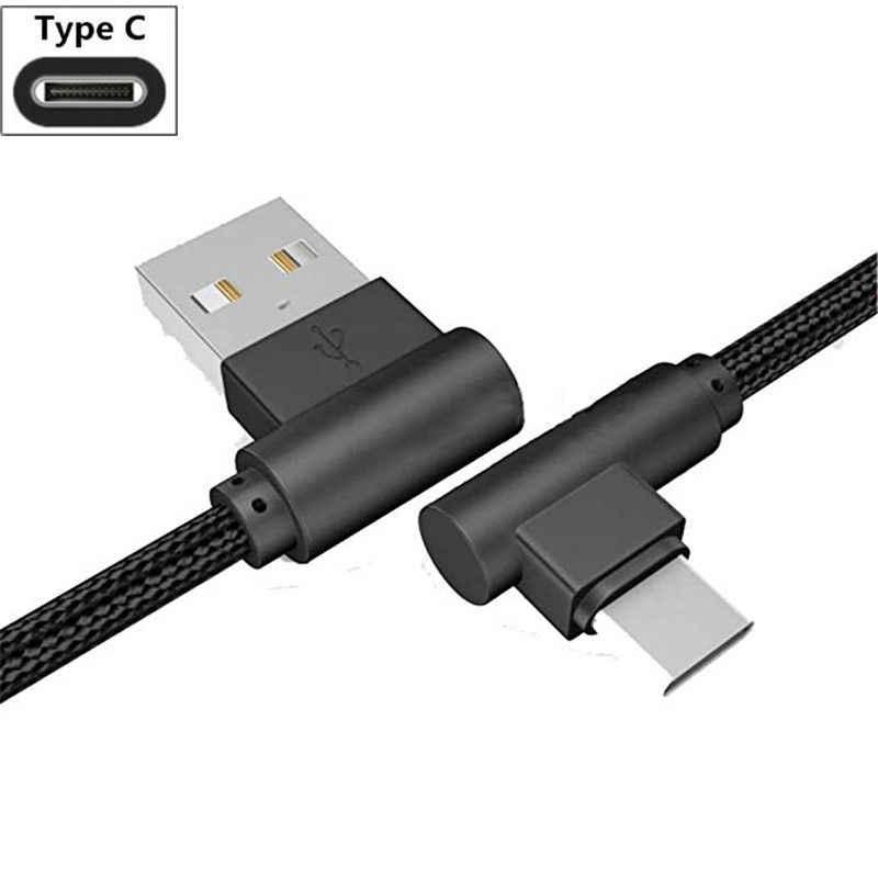 Cable de cargador para Huawei Honor V20 jugar 10 8 9 tipo C Cable de datos para ZTE Axon 9 pro 7 mini 7 s V7 Max 90 grados codo cable