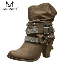 Tangnest Women Motorcycle Ankle Boots Sexy Rhinestone Rivet High Heels Platform Buckle Shoes Woman Booties Size 35-43 XWX6928