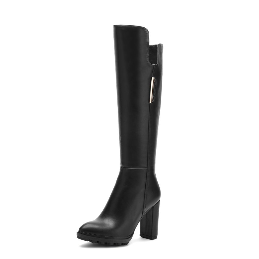 2018 Fashion Women Winter Autumn Zipper PU Knee-high Boots Square High Heel Pointed Toe Ladies Platform Shoes Black Size 34-39