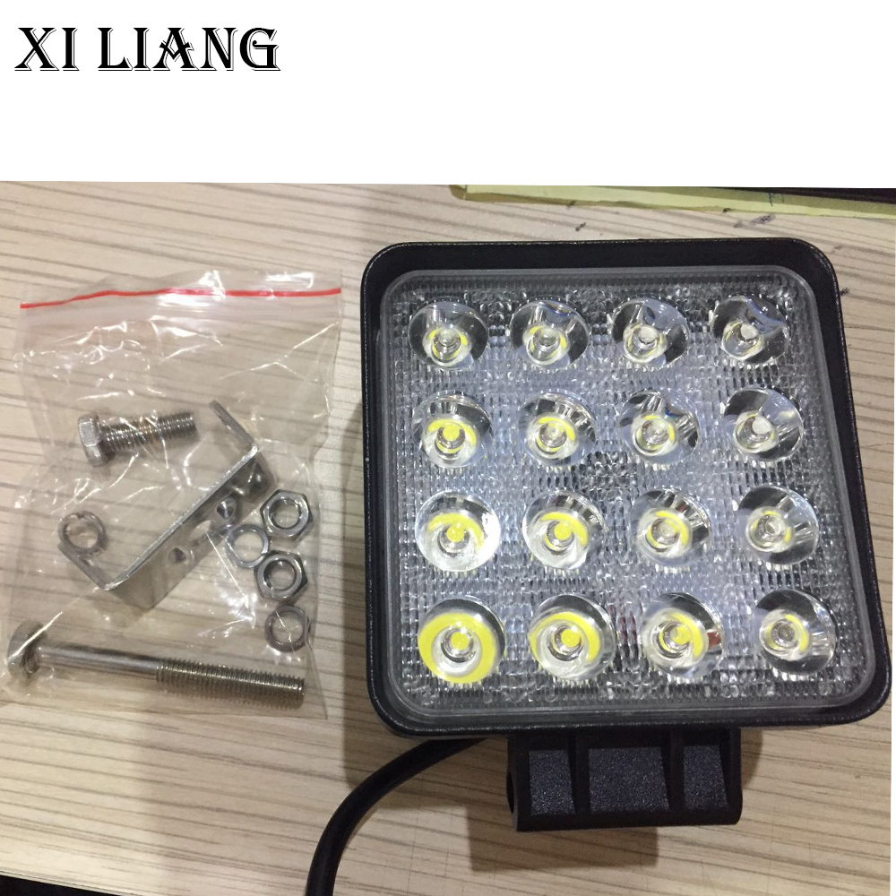 2pcs lot 48W led work light 4 Inch 12V 24V Car Lamp spot flood Beam for car truck 4x4 ATV tractor Night Driving Light in Light Bar Work Light from Automobiles Motorcycles